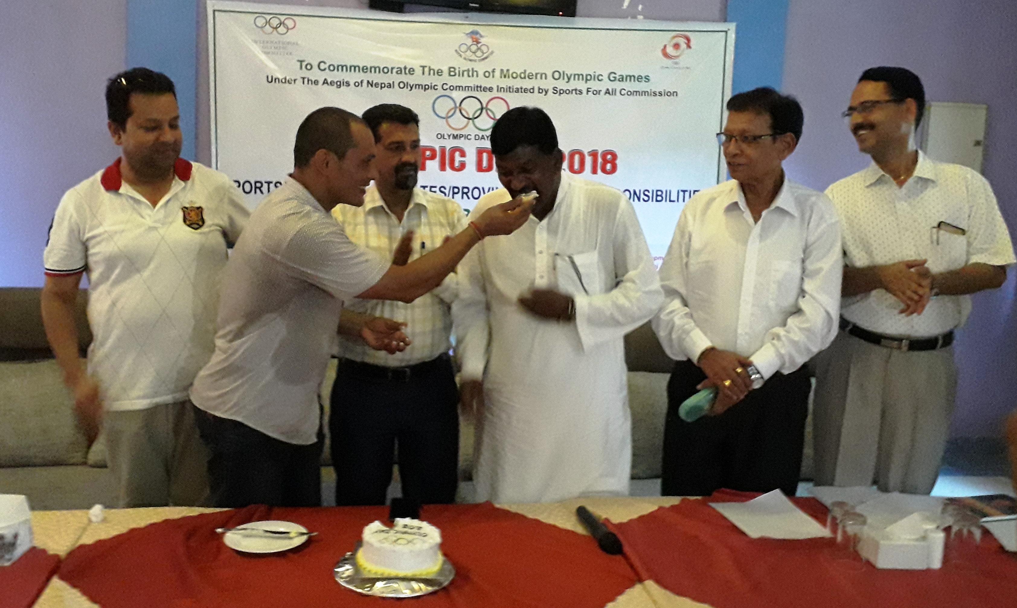 नेपालगन्जमा ओलम्पिक चर्चा, 'केक खाऔं मस्त रमाऔं'
