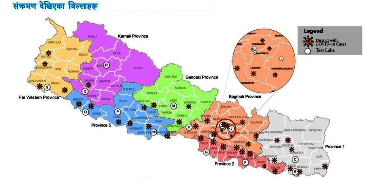 नेपालका ४० जिल्लामा पुग्यो कोरोना