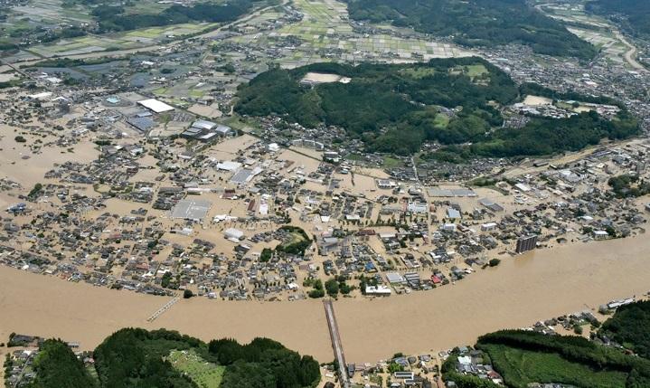 बाढीको बिपदमा जापान, ३४ को मृत्यु, १४ जना बेपत्ता
