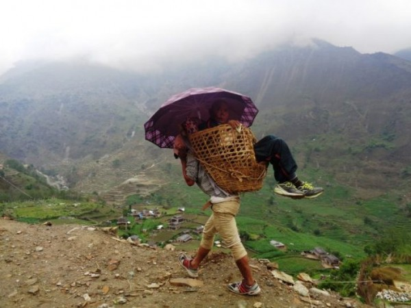 Basket being used to take patients to hospital in lack of ambulance service